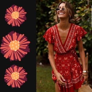 Dresses & Skirts - Bohemian Style Red Short Bohemian Dress